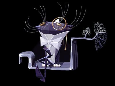The Cat style bow tie monocle moustache 2d card illustration folk tree poem pushkin slavic