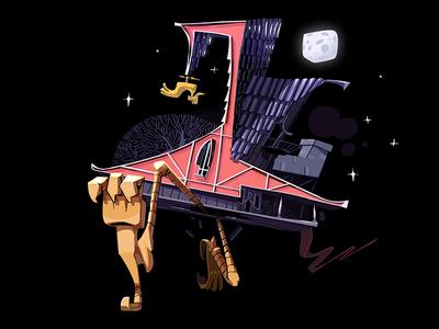 Baba Yaga's wooden hut night run moon house 2d card illustration folk cyrillic poem pushkin slavic