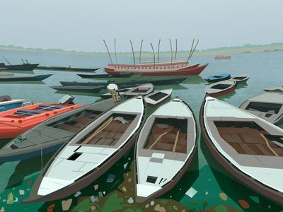 boats digital enviroment art motion illustration 2d background speedpaint