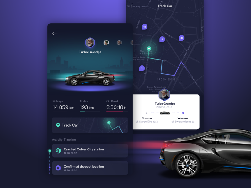 Track Car App traficar lyft uber track ridesharing caresharing share mobility itmagination software ios figma control app car