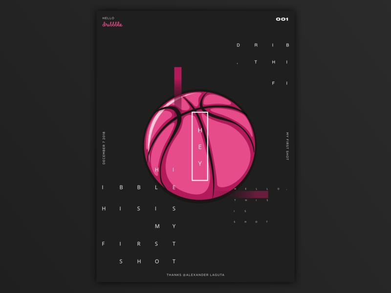 Hello, dribble! typography poster design ui