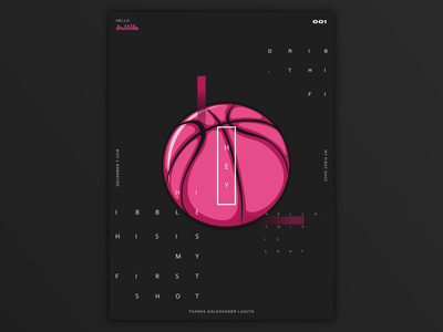 Hello, dribble! typography poster design ui