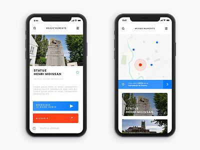 Meaux'numents - Tourism app design student project clean blue minimalist minimal cards travel city app web ui