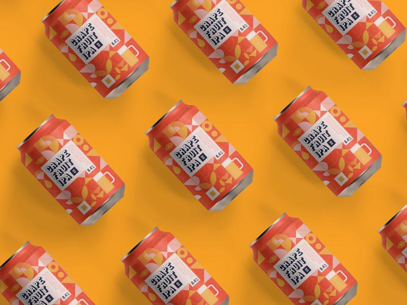 Grapefruit IPA illustration drink packaging can beer