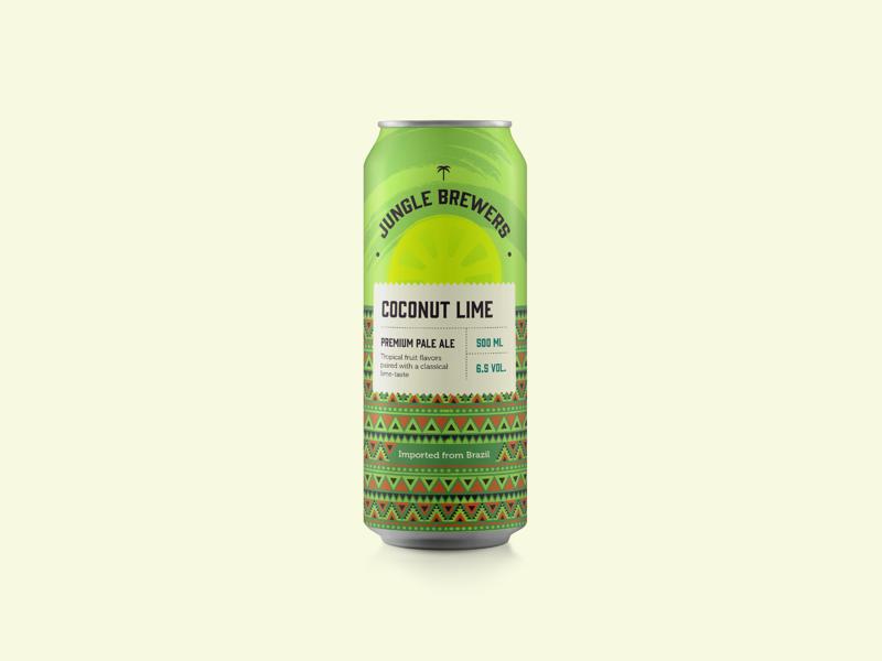 Coconut Pale Ale drink beverage aztec labeldesign label beercan lime coconut packaging design can beer