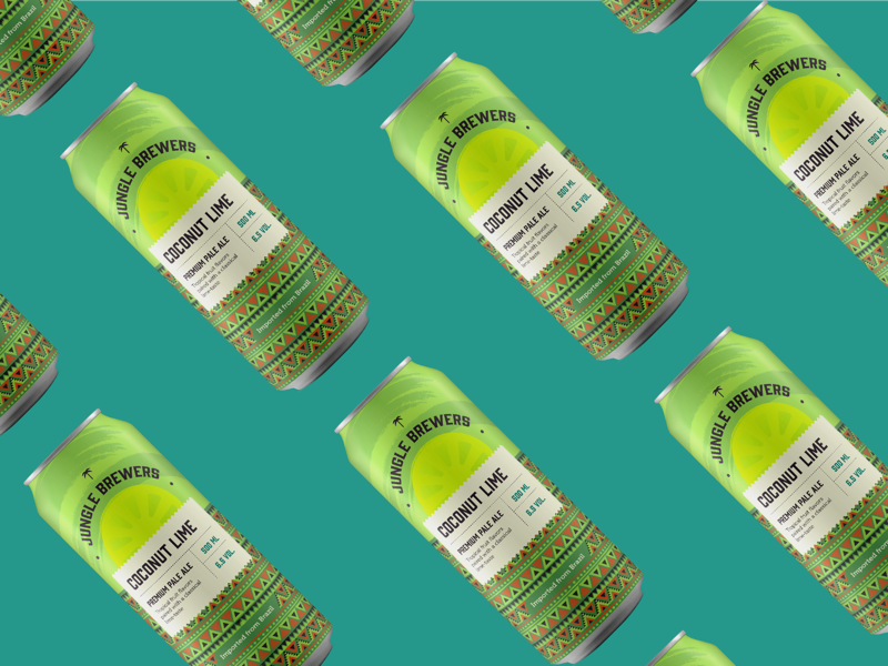 Coconat Lime Pale Ale drink beverage aztec labeldesign label beercan lime coconut packaging design can beer
