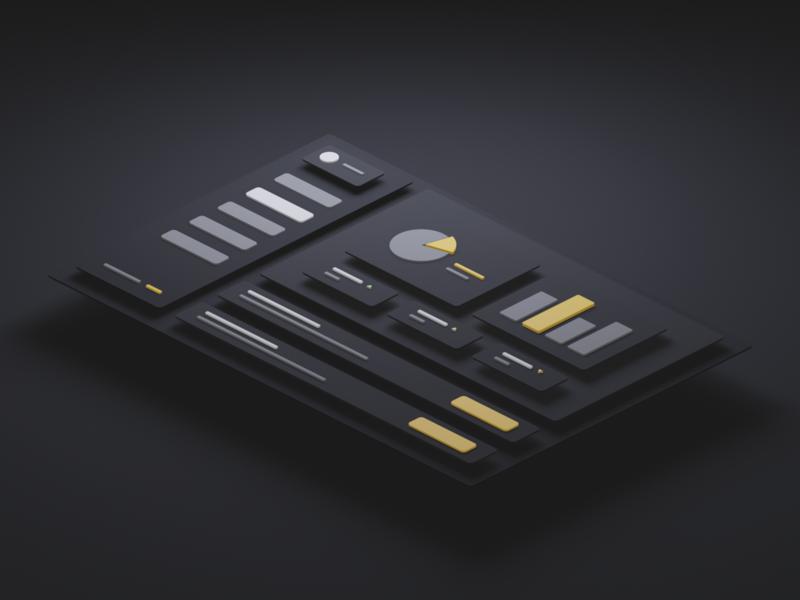 Dashboard Illustration isometric dashboard ui illustration blender 3d art 3d