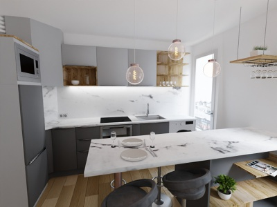 Kitchen Renovation architecture paris photorealism interior design kitchen blender 3d art 3d