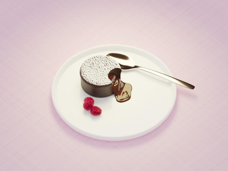 Fondant Au Chocolat dessert isometric yummy treat raspberry sweets cake fondant chocolate illustration blender 3d art 3d