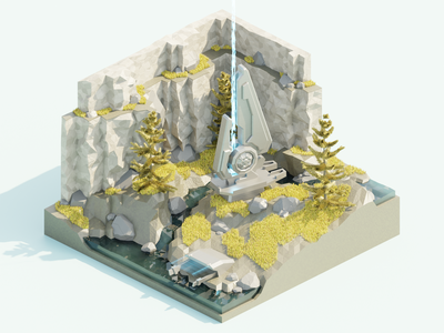 Beam Emitter halo sci-fi diorama environment nature energy game game art 3d art 3d low poly isometric illustration blender
