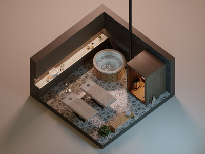 Missing Spa massage vacations relaxing hot tub sauna spa interior design diorama isometric blender illustration 3d art 3d