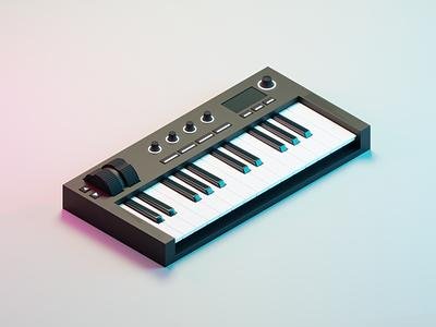 MIDI Controller keys music music art controller midi isometric illustration blender 3d art 3d