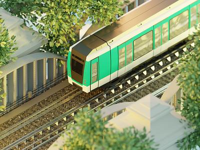 Paris Metro city sunrise metro paris low poly isometric illustration blender 3d art 3d