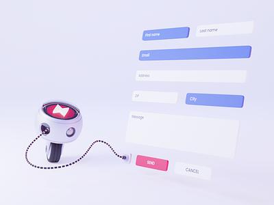 Analyzing Form Usage form ai robot bot recommend algolia b3d design blender3d illustration blender 3d