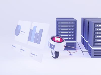 Converging Data backoffice dashboard datacenter data robot bot design ai recommend algolia b3d blender3d illustration blender 3d