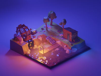 Lake Solitude diorama isometric lake watermill illustration low poly blender 3d 3d art