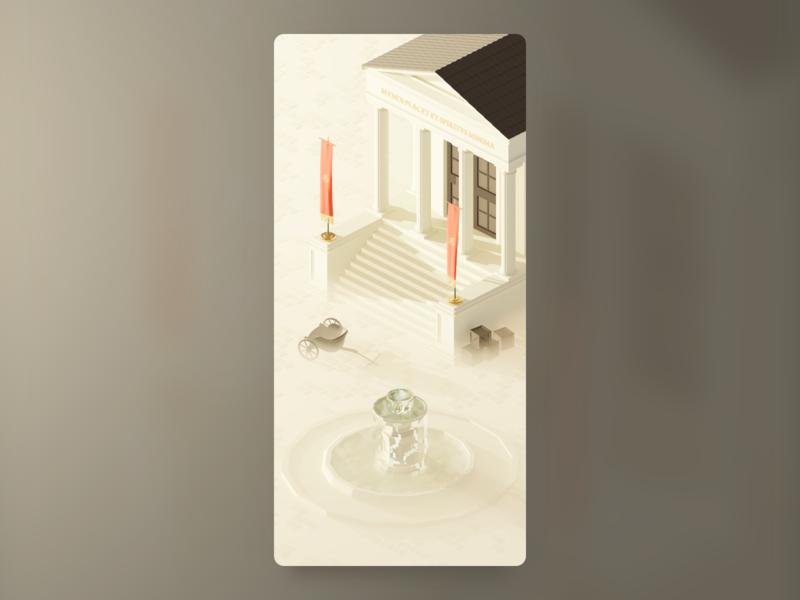 Ancient Rome isometric kaamelott fountain temple roman wallpaper low poly illustration blender 3d art 3d