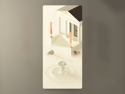 Ancient Rome isometric kaamelott fountain temple roman wallpaper low poly illustration blender 3d art 3d