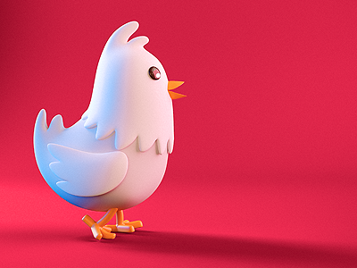 Little chicken model cartoon chicken 3d