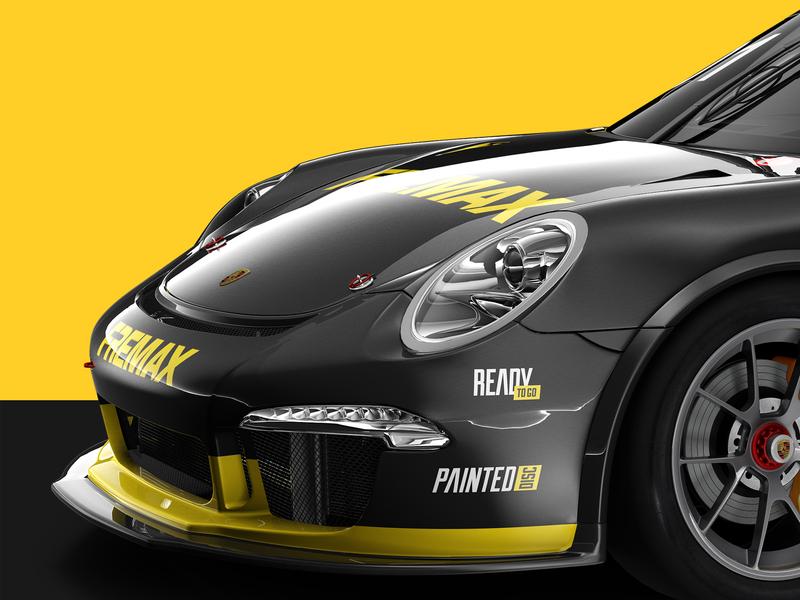 Porsche Fremax car render 3d illustration 3dsmax