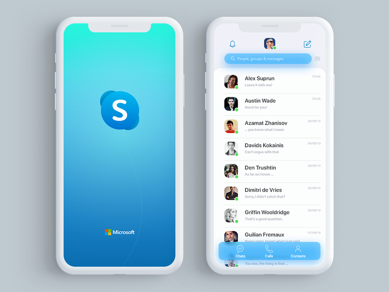 Skype | #brasiluiawards adobe xd xd design xd challenge brasil call talk blue clean ux ui skupe redesign brasiluiawards