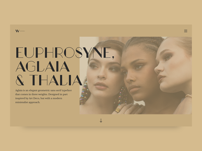 Hero Image • Font Aglaia Regular product page design greece web design webdesign elegant graceful myth mythological mythology hero image hero section typography promo interface cover product design landing page ui