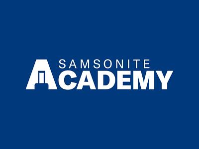 Samsonite® Academy - Logo Design icon graphic design dark blue traveling travel bag samsonite suitcase logotype wordmark negativespace negative space vector brand branding logo design logo