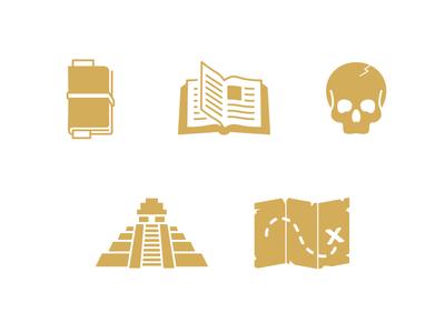 Adventure Icons journal skull temple book map treasure journey illustration icons adventure
