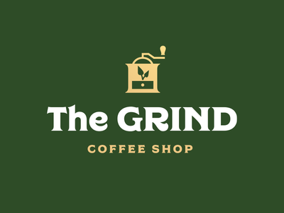Thirty Logos Challenge #2 - The Grind thirty logos coffee shop the grind logo design plant grinder thirtylogos coffee grind logo branding brand