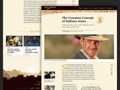 TheRaider.net Article Page - Concept concept design article footer illustration redesign responsive ui ux website art direction indiana jones