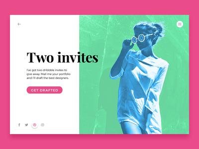 Two Dribbble Invites flat design dribbble invites ui invites invitation dribbble