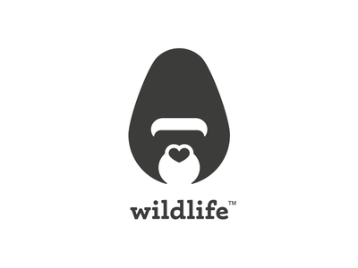 Thirty Logos Challenge #5 - Wildlife heart nose thirty logos logo design minimal heart gorilla wildlife thirtylogos logo branding brand