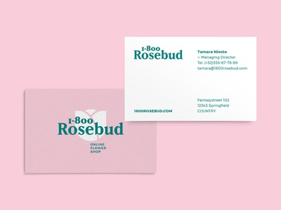 1-800-Rosebud Business Card print design concept flower flower shop rosebud rose card business card thirty logos thirtylogos brand branding logo design logo