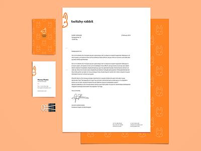 Twitchy Rabbit Identity bunny card design card print design twitchyrabbit twitchy rabbit business card letterhead thirty logos thirtylogos branding brand