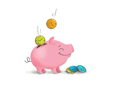 Save Time toddler piggy bank save time time spot illustration website kids graphic design illustration