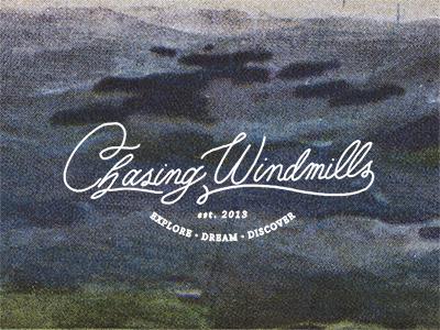 Chasing Windmills branding identity logo hand lettering