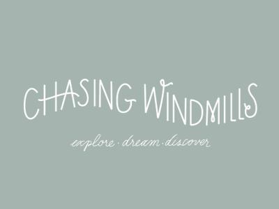Chasing Windmills logo branding hand drawn hand lettering children