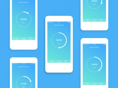 Focus Time App tracking productivity prototyping ios mobile ui ux timer app