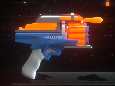 Fun Gun! galaxy modeling space toys design illustration 3d