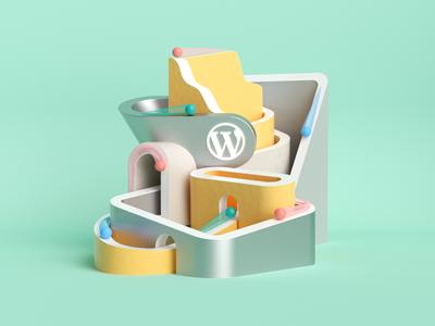 Wordpress illustration for Godaddy typography designer design adobe art direction ui ux cinema4d c4d web illustration 3d