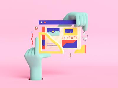 Illustration for Godaddy uxui web abstract adobe illustration branding art direction cinema4d c4d 3d design graphic art