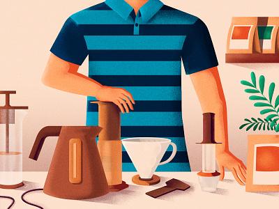 Home Coffee Brewing coffee bean virtual coffee shop how to coffee illustration
