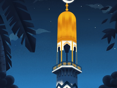 Islamic Night clouds city buidlings islamic tropical night architecture mosque maldives illustration art