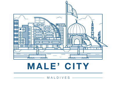 Male' City, Maldives skyline ocean jetty buidlings office maldives clouds city