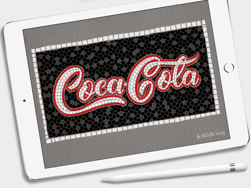 Coca-cola fauxsaics branding procreate ipad pro faux-mosaic coca-cola illustration typography design lettering digital lettering digital art