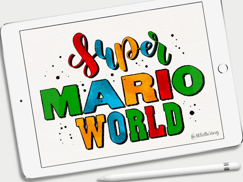Super Mario World nintendo mariobros supermario super mario mario design typography procreate lettering ipad pro digital lettering digital art