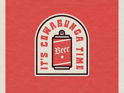Cowabunga Time badge badge design vector nevada reno design reno design illustration
