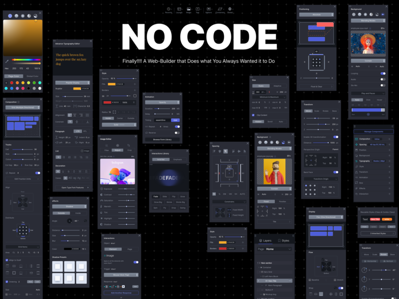 No-Code web builder css grid website builder visual editor brainless web page-builder web-builder nocode