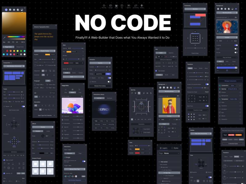 No-Code web builder css grid website builder visual editor brainless web page-builder web-builder nocode
