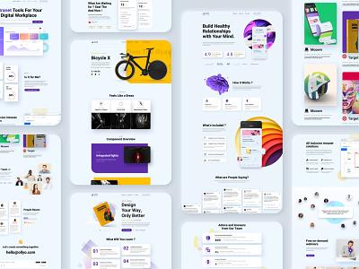 Startup Landing Pack pricing table book bicycle app sass agency startup landing